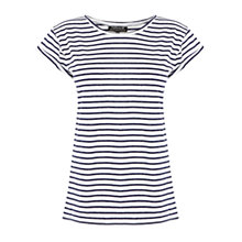 Buy Warehouse Striped Boyfriend T-Shirt, Cream Online at johnlewis.com