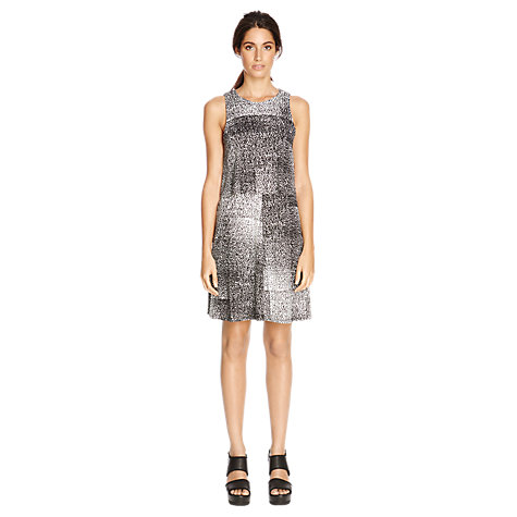 Buy Warehouse Mono Print Double Layer Dress, Black/Multi Online at johnlewis.com