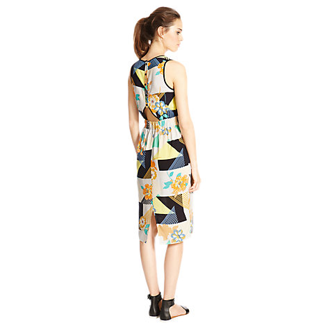 Buy Warehouse 80s Floral Midi Dress, Multi Online at johnlewis.com
