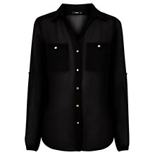 Buy Oasis Chiffon Shirt, Black Online at johnlewis.com