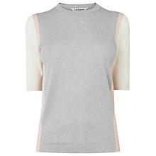 Buy L.K. Bennett Valley Colourblocked Short Sleeve Knit, Ballerina/Cream/Grey Melange Online at johnlewis.com