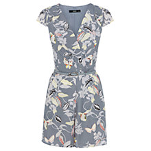 Buy Oasis Floral Playsuit, Multi Grey Online at johnlewis.com