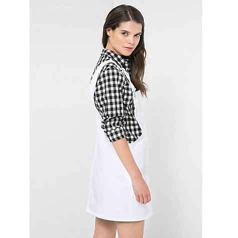 Buy Mango Denim Pinafore Dress, White Online at johnlewis.com