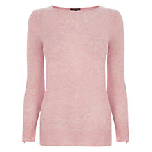 Buy Warehouse Pointelle Zip Cuff Crew Neck Jumper, Light Pink Online at johnlewis.com