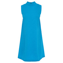 Buy Warehouse High Neck Textured Swing Dress, Turqoise Online at johnlewis.com