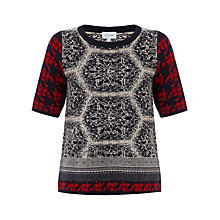 Buy Jigsaw Dogtooth Sweater, Blue Online at johnlewis.com