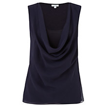 Buy Jigsaw Georgette Cowl Top, Navy Online at johnlewis.com