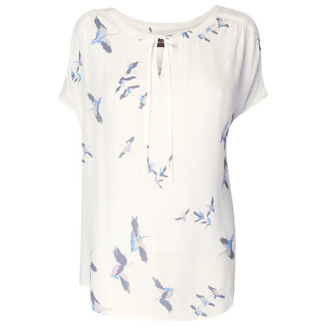 Buy Phase Eight Cecile Bird Print Top, Ivory Online at johnlewis.com