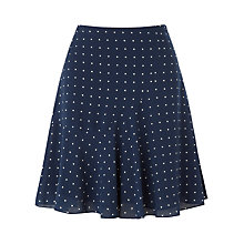 Buy Jigsaw Polka Dot Flute Hem Skirt, Navy Online at johnlewis.com