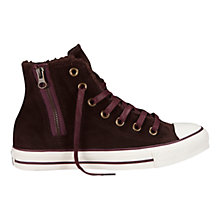 Buy Converse Chuck Taylor All Stars Side Zip Hi-Top Suede Trainers, Burgundy Online at johnlewis.com