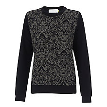 Buy Collection WEEKEND by John Lewis Jacquard Front Sweat Top, Navy Online at johnlewis.com