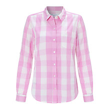 Buy John Lewis Large Check Shirt, Pink/White Online at johnlewis.com