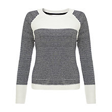 Buy Collection WEEKEND by John Lewis Reverse Knit Stripe Jumper, White / Navy Online at johnlewis.com