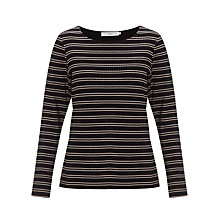 Buy John Lewis Capsule Collection Stripe Texture Top, Black/Beige Online at johnlewis.com