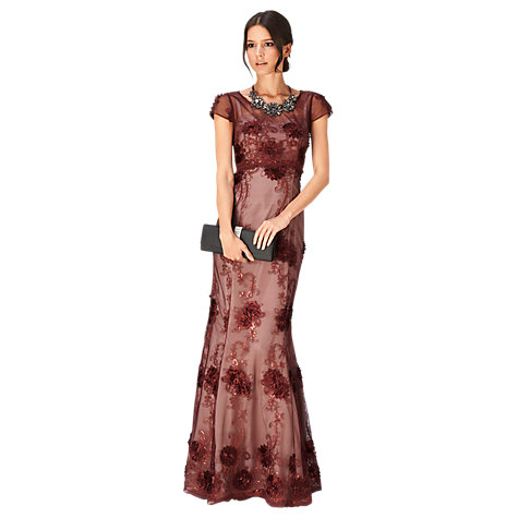 Buy Phase Eight Emanuela Petals Full Length Dress, Claret Online at johnlewis.com