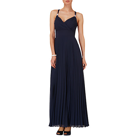 Buy Phase Eight Annalise Pleated Maxi Dress, Navy Online at johnlewis.com