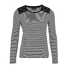 Buy Viyella Lace Striped Top, Black Online at johnlewis.com