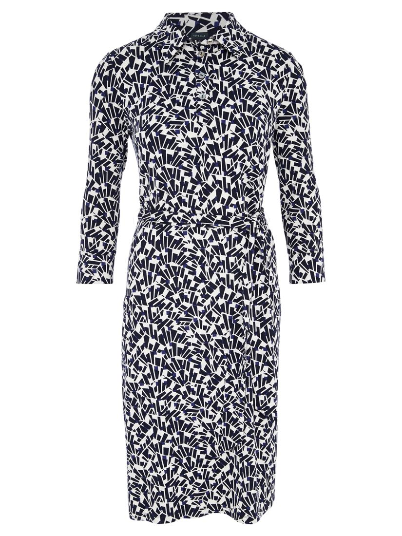 viyella fan print collar dress navy, viyella, fan, print, collar, dress, navy, 12|18|10|14, clearance, womenswear offers, womens dresses offers, women, plus size, womens dresses, special offers, 1579268