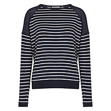 Buy Whistles Stripe Andi Mesh Top, Black Online at johnlewis.com