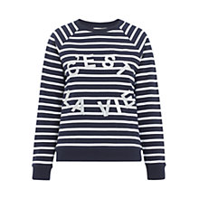 Buy Whistles Stripe C'est La Vie Sweatshirt, Navy Online at johnlewis.com