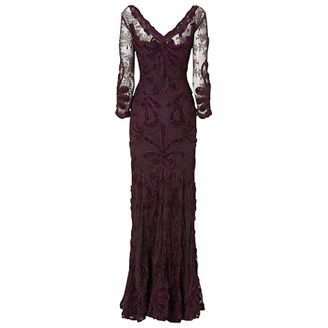 Buy Phase Eight Collection 8 Issy Tapework Full Length Dress, Grape Online at johnlewis.com