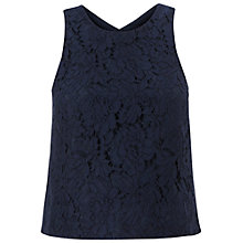 Buy Whistles All Over Lace Crop Top, Navy Online at johnlewis.com