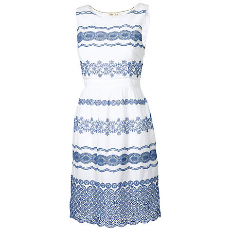 Buy Fat Face Finchley Broderie Dress, Ivory Online at johnlewis.com