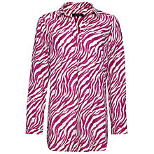 Buy Jaeger Zebra Print Linen Tunic Top, Raspberry Online at johnlewis.com