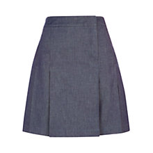 Buy Hobbs Leah Pleated Skirt, Chambray Blue Online at johnlewis.com