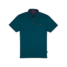 Buy Ted Baker Grainyo Grosgrain Cotton Polo Shirt, Teal Online at johnlewis.com