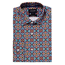Buy Duchamp Frost Medallion Print Shirt, Mid Blue Online at johnlewis.com