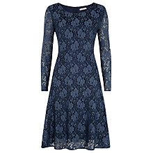 Buy Kaliko Lace Long Sleeved Skater Dress, Indigo Online at johnlewis.com