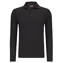 Buy John Lewis Made in Italy Merino Long Sleeve Polo Shirt, Grey Online at johnlewis.com
