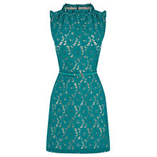 Buy Oasis High Neck Lace Dress, Mid Green Online at johnlewis.com