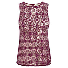 Buy Oasis Geo Spot Lace Shell Top, Berry Online at johnlewis.com