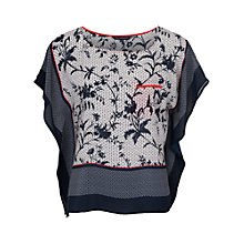 Buy French Connection Imperial Silk Top, Utility Blue/White Online at johnlewis.com