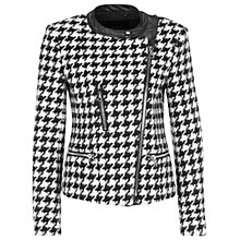 Buy Oui Dogtooth Biker Jacket, Black/White Online at johnlewis.com