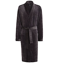 Buy BOSS Cotton Blend Bath Robe, Grey Online at johnlewis.com