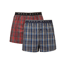 Buy BOSS Woven Check Boxers Gift Set, Pack of 2, Grey/Red Online at johnlewis.com