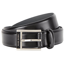 Buy BOSS Leather Egilo Belt, Black Online at johnlewis.com