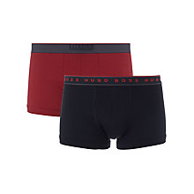 Buy BOSS Logo Trunks, Pack of 2, Black/Red Online at johnlewis.com