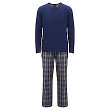 Buy BOSS Woven Check Pyjama Set, Blue Online at johnlewis.com