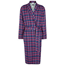 Buy BOSS Brushed Cotton Check Robe, Red Online at johnlewis.com