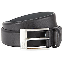 Buy BOSS Ellot-S Leather Belt, Black Online at johnlewis.com
