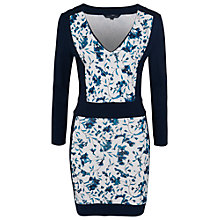 Buy French Connection Porcelain Ponte V-Neck Dress, Winter White Multi Online at johnlewis.com