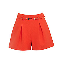 Buy Miss Selfridge Textured High Waisted Belted Shorts, Red Online at johnlewis.com