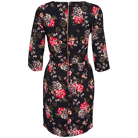 Buy Closet Floral Cross Tie Front Dress, Blue/Red Online at johnlewis.com