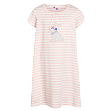Buy John Lewis Girl Bunny Appliqué & Stripe Nightdress, Pink Online at johnlewis.com