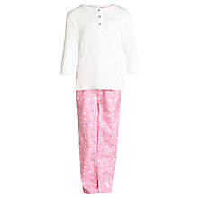 Buy John Lewis Girl Star Print Button Pyjamas, Cream/Pink Online at johnlewis.com