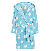 Buy John Lewis Girl Spot Print Waffle Hooded Robe, Blue Online at johnlewis.com